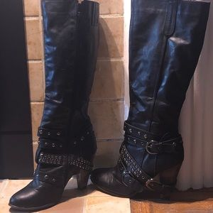 Women's Size 9- Knee High Boots Black w/Studs